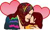 Vektor Cliparts: Eine Mutter umarmen und küssen ihre schöne Tochter