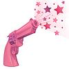 Векторный клипарт: Гламурный розовый пистолет на белом фоне