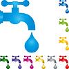 Vektor Cliparts: Logo, Wasserhahn, Tropfen, Flüssigkeit