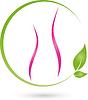 Vektor Cliparts: Logo, eine Frau, Mensch, grüne Blätter, Naturopaths