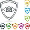 Vektor Cliparts: Logo, Augenschutz, Wappen, Sammlung, Sicherheit