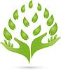 Vektor Cliparts: Logo, zwei Hände, Blätter, Naturopaths