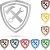 Vektor Cliparts: Logo, kamm, Werkzeug, Schlosser
