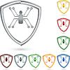 Vektor Cliparts: Digitale Spinne, logo, schild
