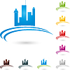 Vektor Cliparts: Stadt, Logo, Immobilien, Häuser