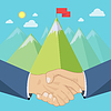 Shaking hands, mountains | Stock Vector Graphics