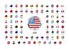 Runde glänzend Icons mit metallischen Rahmen, Flaggen