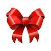 Vektor Cliparts: Rot glänzend glänzend realistisch Bowtie, Bogen mit Schwänzen