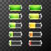 Vektor Cliparts: Glatte Batterie-Icons mit verschiedenen Ladezustand