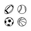 Vektor Cliparts: Vier einfache schwarze Symbole von Kugeln für Rugby,