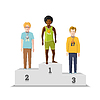 Vektor Cliparts: Flache männlichen Gewinn Athleten mit Medaillen Podium