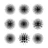 Vektor Cliparts: Runde Raster Muster mit unterschiedlichen Punkt