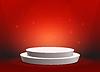 Vektor Cliparts: Leere Vorlage von weißen runden Podium auf rot