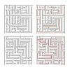 Vektor Cliparts: Zwei verschiedene Labyrinthe von hoher Komplexität und Lösungen