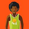 Vektor Cliparts: Afrikanische Athlet mit goldenen Medaille für den ersten Platz o