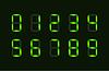 Vektor Cliparts: Set grüne Zeichen digitale Zahl aus sieben