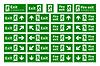 Vektor Cliparts: Set Notfall Notausgang grüne Schilder mit