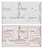 Vektor Cliparts: Rechteckige Labyrinth mittlerer Komplexität und Lösung