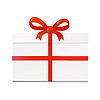 Vektor Cliparts: White Geschenk-Box mit roter Schleife