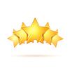 Vektor Cliparts: Fünf glänzende goldene Bewertung Sterne mit Schatten