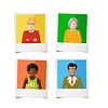 Vektor Cliparts: Vier verschiedene polaroid sofortige Fotos mit Flach