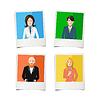 Vektor Cliparts: Vier polaroid sofortige Fotos mit flachen Porträts