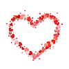 Vektor Cliparts: Herzkontur aus kleinen rosa und roten Herzen