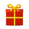 Vektor Cliparts: roten Geschenk-Box mit gelbem Band