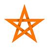 Vektor Cliparts: Orange Stern mit Schatten auf Kreuzungen