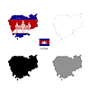 Cambodia country black silhouette and with flag on | Stock Illustration