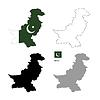 파키스탄의 국가 검은 실루엣과 플래그와 함께 | Stock Illustration
