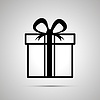 Vektor Cliparts: Geschenk einfaches schwarzes Symbol mit Schatten