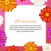 Vektor Cliparts: Beauty-Vorlage mit Gerbera Blumen und Text-Raum