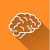Vektor Cliparts: Das menschliche Gehirn, einfache weiße Symbol mit langen Schatten auf