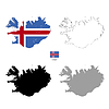 Vektor Cliparts: Island Land schwarze Silhouette und mit Fahne