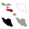 Vektor Cliparts: Iran Land schwarze Silhouette und mit Fahne