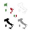 Vektor Cliparts: Italien Land schwarze Silhouette und mit Fahne