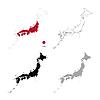Vektor Cliparts: Japan Land schwarze Silhouette und mit Fahne