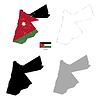 Vektor Cliparts: Jordan Land schwarze Silhouette und mit Fahne