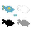 Kasachstan Land schwarze Silhouette und mit Flagge o