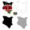Vektor Cliparts: Kenia Land schwarze Silhouette und mit Fahne