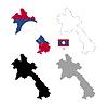 Vektor Cliparts: Laos Land schwarze Silhouette und mit Fahne