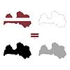 Vektor Cliparts: Lettland Land schwarze Silhouette und mit Fahne