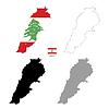 Vektor Cliparts: Libanon Land schwarze Silhouette und mit Fahne