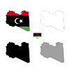 Vektor Cliparts: Libyen Land schwarze Silhouette und mit Fahne