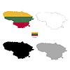 Vektor Cliparts: Litauen Land schwarze Silhouette und mit Fahne
