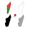 Vektor Cliparts: Madagaskar Land schwarze Silhouette und mit Flagge o