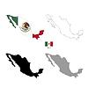 Vektor Cliparts: Mexiko Land schwarze Silhouette und mit Fahne
