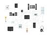 Vektor Cliparts: Hausgeräte Netz, Internet der Dinge flach