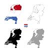 Vektor Cliparts: Niederlande Land schwarze Silhouette und mit Fahne